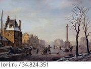 Hove Bart Van - Pompenburg Met Hofpoort in Winter - Dutch School - ... Редакционное фото, фотограф Artepics / age Fotostock / Фотобанк Лори