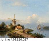 Kleijn Lodewijk Johannes - a Summer Landscape with a MILL Along a... Редакционное фото, фотограф Artepics / age Fotostock / Фотобанк Лори