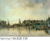 Mastenbroek Johan Hendrik Van - a Townview with Moored Vessels Along... Редакционное фото, фотограф Artepics / age Fotostock / Фотобанк Лори