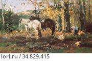 Scherrewitz Johan Frederik Cornelis - Houthakker Met Twee Paarden... Редакционное фото, фотограф Artepics / age Fotostock / Фотобанк Лори