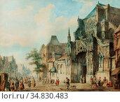 Springer Cornelis - a Townview with Figures on a Church Street - ... Редакционное фото, фотограф Artepics / age Fotostock / Фотобанк Лори