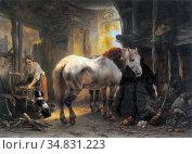 Verschuur I Wouterus - Stalinterieur Met Twee Paarden 2 - Dutch School... Редакционное фото, фотограф Artepics / age Fotostock / Фотобанк Лори