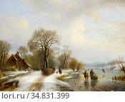 Vester Willem - Winter Landscape with Figures - Dutch School - 19th... Редакционное фото, фотограф Artepics / age Fotostock / Фотобанк Лори