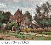 Windt Chris Van Der - Boerenerf Met Boer En Kippen - Dutch School... Редакционное фото, фотограф Artepics / age Fotostock / Фотобанк Лори
