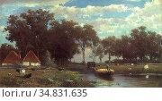Weissenbruch Jan Hendrik - the Hay Bridge - Dutch School - 19th Century... Редакционное фото, фотограф Artepics / age Fotostock / Фотобанк Лори