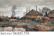 Windt Chris Van Der - Boerderij Aan Het Water - Dutch School - 19th... Редакционное фото, фотограф Artepics / age Fotostock / Фотобанк Лори
