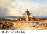 Mole John Henry - Coastal Scene at Low Tide with a Young Boy and ... Редакционное фото, фотограф Artepics / age Fotostock / Фотобанк Лори