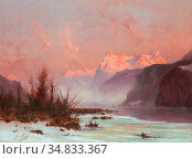 Loppé Gabriel - Paysage En Hiver Au Bord Du Lac Avec Montagnes - ... Стоковое фото, фотограф Artepics / age Fotostock / Фотобанк Лори