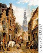 Dommersen Cornelis Christiaan - a View of the Jewish Quarter Amsterdam... Редакционное фото, фотограф Artepics / age Fotostock / Фотобанк Лори