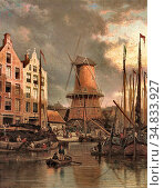 Dommersen Pieter Cornelis - the MILL 'de Roozeboom' Amsterdam - Dutch... Редакционное фото, фотограф Artepics / age Fotostock / Фотобанк Лори