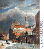 Eversen Adrianus - Hiver - Vue a Haarlem - Dutch School - 19th Century... Редакционное фото, фотограф Artepics / age Fotostock / Фотобанк Лори