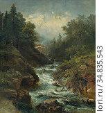 Peters Pieter Francis - Mountain Stream - Dutch School - 19th Century. Редакционное фото, фотограф Artepics / age Fotostock / Фотобанк Лори