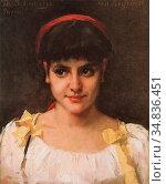Schwartze Thérèse - Un Regard (Meisjesportret) - Dutch School - 19th... Редакционное фото, фотограф Artepics / age Fotostock / Фотобанк Лори