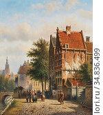 Spohler Johannes Franciscus - Amsterdamse Gracht 2 - Dutch School... Редакционное фото, фотограф Artepics / age Fotostock / Фотобанк Лори