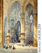 Schafer Henri - Milan Cathedral - French School - 19th and Early ... Стоковое фото, фотограф Artepics / age Fotostock / Фотобанк Лори