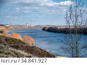 The steep bank of the Oka River. Kolomna District of Moscow Region. Стоковое фото, фотограф Андрей Радченко / Фотобанк Лори