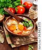 Pea soup with tomatoes. Стоковое фото, фотограф Надежда Мишкова / Фотобанк Лори