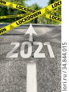 Quarantine of 2021 is ahead. Стоковая иллюстрация, иллюстратор WalDeMarus / Фотобанк Лори