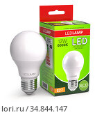 Led lamp with package box isolated on white. Energy efficient light bulb. Стоковое фото, фотограф Maksym Yemelyanov / Фотобанк Лори
