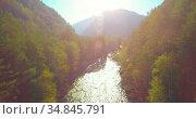 Low altitude flight over fresh fast mountain river with rocks at sunny summer morning. Стоковое видео, видеограф Александр Маркин / Фотобанк Лори
