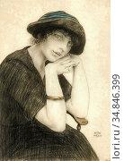 Sauer Walter - Femme Au Chapeau - Belgian School - 19th Century. Стоковое фото, фотограф Artepics / age Fotostock / Фотобанк Лори