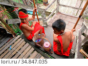 Bidayuh Children with Traditional Costume, Sarawak, Malaysia (2016 год). Редакционное фото, фотограф Chew Chun Hian / age Fotostock / Фотобанк Лори