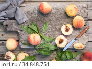Several ripe juicy peaches on a wooden surface. Peach fruits on the wooden board. Green living. Organic food. Стоковое фото, фотограф Nataliia Zhekova / Фотобанк Лори