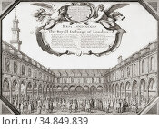 The Royal Exchange of London in the mid 17th century. After an etching... (2019 год). Редакционное фото, фотограф Classic Vision / age Fotostock / Фотобанк Лори