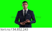 Animation of mixed race man in suit talking in a green background. Стоковое видео, агентство Wavebreak Media / Фотобанк Лори