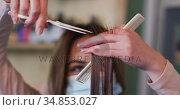 Female hairdresser wearing face mask cutting hair of female customer at hair salon. Стоковое видео, агентство Wavebreak Media / Фотобанк Лори