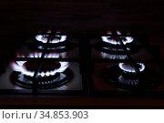 The gas burns on the stove. Стоковое фото, фотограф Арестов Андрей Павлович / Фотобанк Лори