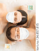 couple in masks at aromatherapy at spa session. Стоковое фото, фотограф Syda Productions / Фотобанк Лори