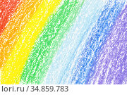 Rainbow crayon strokes. Стоковая иллюстрация, иллюстратор Роман Сигаев / Фотобанк Лори