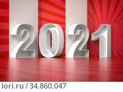 2021 happy new year abstract 3d illustration. 3d. Стоковое фото, фотограф Maksym Yemelyanov / Фотобанк Лори