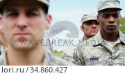 Military troops standing at boot camp 4k. Стоковое видео, агентство Wavebreak Media / Фотобанк Лори