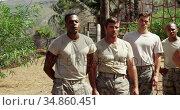Military soldiers standing at boot camp 4k. Стоковое видео, агентство Wavebreak Media / Фотобанк Лори