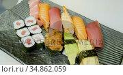 Sushi served in a tray 4k. Стоковое видео, агентство Wavebreak Media / Фотобанк Лори