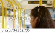 Teenage girl travelling in the bus 4k. Стоковое видео, агентство Wavebreak Media / Фотобанк Лори