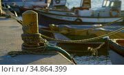 Boat moored at dock 4k. Стоковое видео, агентство Wavebreak Media / Фотобанк Лори