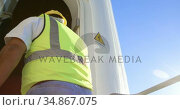 Engineer walking inside the wind mill 4k. Стоковое видео, агентство Wavebreak Media / Фотобанк Лори