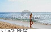Woman walking on the beach 4k. Стоковое видео, агентство Wavebreak Media / Фотобанк Лори