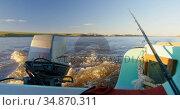Motor boat in river at sunset 4k. Стоковое видео, агентство Wavebreak Media / Фотобанк Лори