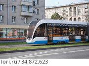 "Трамвай ""Витязь-М"". Москва. Редакционное фото, фотограф Victoria Demidova / Фотобанк Лори"