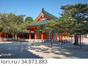 Gaku-den Hall of Heian-jingu Shrine. Kyoto. Japan (2007 год). Стоковое фото, фотограф Serg Zastavkin / Фотобанк Лори