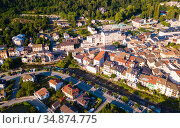 Ax-les-Thermes with buildings and The Lauze river in France. Стоковое фото, фотограф Яков Филимонов / Фотобанк Лори