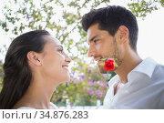 Stylish couple with red rose are romantic . Стоковое фото, агентство Wavebreak Media / Фотобанк Лори