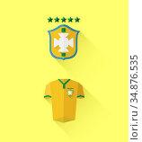 Brasil jersey and crest vector. Стоковое фото, агентство Wavebreak Media / Фотобанк Лори