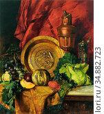 Bara Leopold - Stilleben Mit Beckenschlägerschale Obst Gemüse Und... Редакционное фото, фотограф Artepics / age Fotostock / Фотобанк Лори