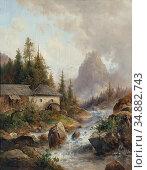 Barbarini Emil - the Water MILL - Austrian School - 19th Century. Редакционное фото, фотограф Artepics / age Fotostock / Фотобанк Лори
