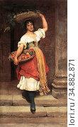 Blaas Eugene De - Lisa - Austrian School - 19th Century. Редакционное фото, фотограф Artepics / age Fotostock / Фотобанк Лори